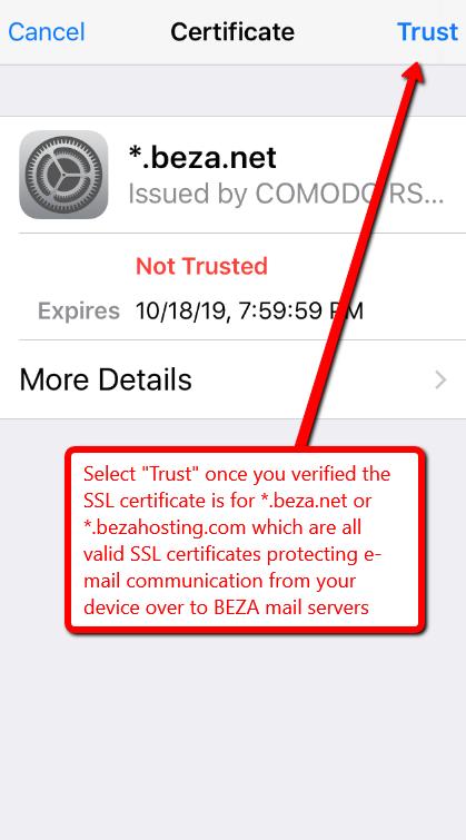 iphone setup trust *.beza.net SSL certificate