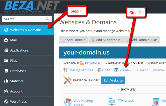 Preview your website prior to DNS change